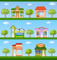 Building icon set store and cafe building front vector image