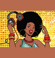 african american woman dj with headphones vector image