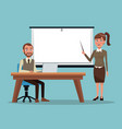color background executive man sitting in desk an vector image