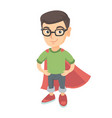 caucasian brave boy wearing superhero costume vector image