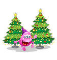 A pink beanie monster near the green christmas vector image