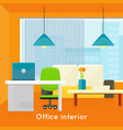Office interior concept in flat design vector image