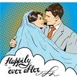 Groom kissing bride in pop vector image