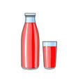 cartoon glass bottle cup of fruit juice vector image