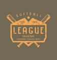emblem of softball team vector image