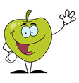Friendly Green Apple Character Waving vector image