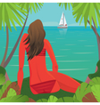 Girl sitting on the beach and watching the boat vector image