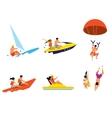 Happy people having fun on beach activities vector image
