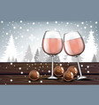 pink wine glasses with chocolates realistic vector image