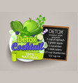 detox cocktail with recipe vector image