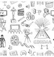 Hand drawn cinema pattern vector image vector image
