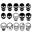 a set of black and white simple skulls vector image