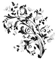 abstract floral pattern with butterflies and bird vector image