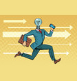 businessman light bulb runs concept ideas and vector image