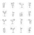 Cocktail icon set outline vector image