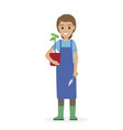 happy gardener with plant in pot and garden shovel vector image