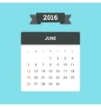 June 2016 Calendar vector image