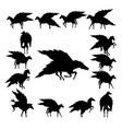set pegasus silhouette vector image