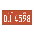 Utah 1959 license plate vector image
