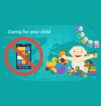long banner - children toys and smart phone vector image
