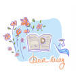 diary of a girl lying on the table with roses vector image