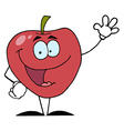 Red Apple Waving A Greeting vector image vector image