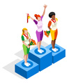 Winner Podium 2016 Sports 3D Isometric vector image