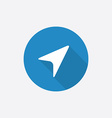 arrow pointer Flat Blue Simple Icon with long vector image