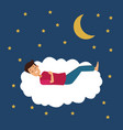 colorful scene of night with guy sleep in cloud vector image