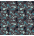 Pattern with fish on a dark background vector image