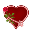 Red heart with one rose place for text vector image