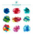 set of multicolored watercolor paint stains and vector image
