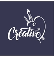 Creative Calligraphic Poster with Palette Brush vector image