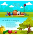 Healthy Lifestyle Horizntal Banners vector image