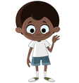 black kid waving vector image