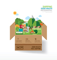Infographic health care concept open box with farm vector image vector image