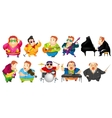 set of funny fat man music vector image