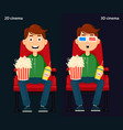 man sitting in the cinema and watching a movie 2d vector image