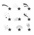 shooting falling stars icons icons of meteorites vector image