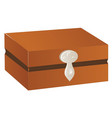wooden chest with silver trim and lock isolated vector image