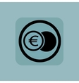 Pale blue euro coin sign vector image vector image
