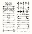 Black Hand Drawn Dividers Arrows Swirls vector image