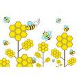 bee with flower in garden vector image