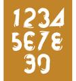 Calligraphic brush numbers hand-painted white vector image