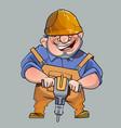Cartoon happy man in helmet and working vector image