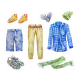 watercolor mens clothing collection on white vector image