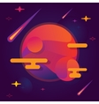 bright planet with stars and vector image