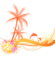 orange palm abstract vector image vector image