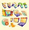 cartoon icons of devices for online payments vector image