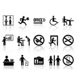 office sign icons set vector image vector image